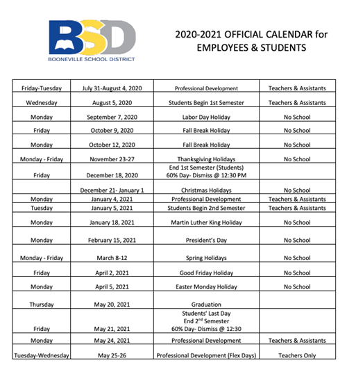 2020-2021 Official School Calendar